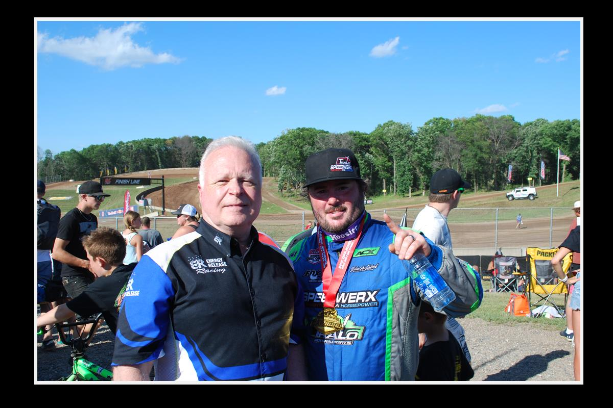 Jeremy Houle #54 with Noel Schanilec, post-race win celebration 7-10-20.